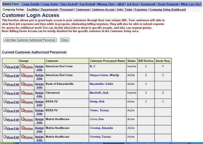 Customer Billing Review Function Screenshot
