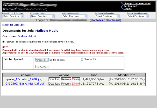 Job Document Upload Screenshot
